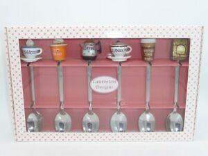 Set of 6 Stainless Steel Spoons with hand painted Coffee Tops in Box