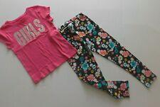 "NWT Gap/Epic Thread Girl's 2 Pc Set ""Girls"" T-Shirt/Navy Floral Leggings S/6-7"