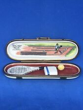 Limoges Box Eximious Trinket Box with Racquet, Ball and Towel - Mint Condition