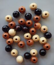 Assorted Wooden Wood Beads 12mm Necklace Bracelet
