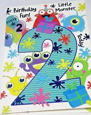 Boys 2nd Birthday Card. Little Monster Theme. Heartstrings Cards.
