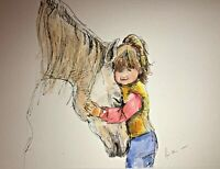 Print from Original ink & watercolour painting Little girl & horse wall art  A4