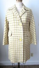 Vintage 50's Yellow Cream & Gray Woven Houndstooth Check Spring EASTER COAT