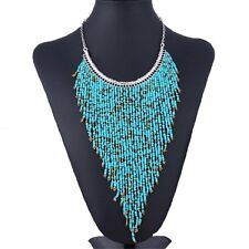 New Fashion Resin Seed Beads Chunky Chain Choker Statement Pendant Bib Necklace