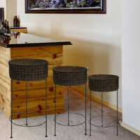 Resin Wicker Water Hyacinth Nested Accent Table Set For Use Indoors or Outside