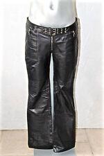 joli pantalon sexy en cuir noir taille basse mixte REDSKINS T 40 EXCELLENT ÉTAT