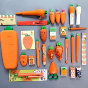 2020 Creative Carrot Series Silicone Soft Pencil Case Stationery Set for Kids