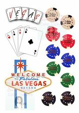 Las VEGAS POKER Chips Set di carte da gioco commestibile glassa cake topper di fogli Stampati