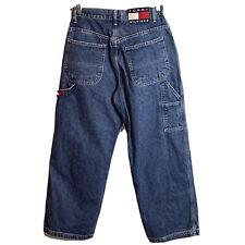 "Vtg Tommy Hilfiger Sz 4 Carpenter Jeans Blue Denim High Rise Wide Leg 26""x28"""