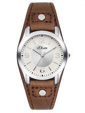 s.Oliver Damenuhr SO-2946-LQ mit braunem Lederarmband modische Uhr women