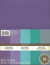 """New Recollections 8.5x11"""" Cardstock Paper Cool Waters Purples, Blues 50 Sheets"""
