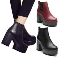 US Winter Women Leather Chunky Shoes Ankle Platform Zipper Block Heel Boots