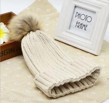 Women Fur Pom Pom Ball Knit Crochet Baggy Bobble Hat Beanie Beret Ski Cap Winter
