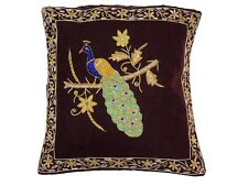 Dark Brown Peacock Dabka Work Embroidered Pillow Cover Couch Sofa Throw Cushion
