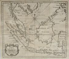 CARTE DES ISLES DE SUMATRA BORNEO DETROIT DE LA SONDE MALACA SIAM , BELLIN  1746