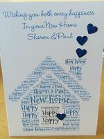 "Personalised ""word Art"" New Home Card Any Name Any Wording"