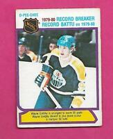 1980-81 OPC  # 3 OILERS WAYNE GRETZKY RECORD BREAKER VG+ CARD (INV# D3944)