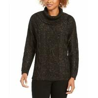 Charter Club Cowl-Neck Cable-Knit Glitter Sweater Black Size: M