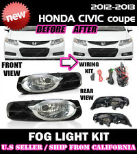 12 13 HONDA CIVIC 2D Coupe Fog Light Driving Lamp Kit w/ switch wiring (CLEAR)