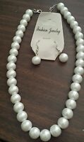 """New 19"""" Large 12mm White Faux Pearl Necklace Pierced Earrings Set Ships Today"""