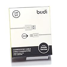 Genuine Budi 1.2 Meter Fast Charging Lightning iPhone Cable Data & Charge White