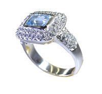 marvelode blauer Topas 925 Sterling Silber Ring blau handgefertigt l-1in de 14,1