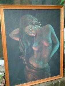 "RARE STEPHEN PEARSON NUDE GIRL ""FIREGLOW""  ORIGINAL 1960/70s FRAMED PRINT GLASS"