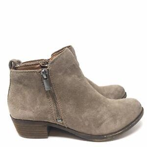 Lucky Brand Women Size 6 Basel Side Zip Ankle Boots Booties Suede Taupe