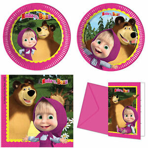 Masha And The Bear Party Plates Napkins Cups Decorations