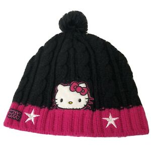 Sanrio Hello Kitty Hat Womens Beanie Winter Hat Black Pink 100% Acrylic Knit Pom