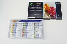 Marie's Gouache Colour Paints 18 Large 5 ml Tubes 2pc Gouache Oil Painting Brush