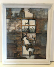 VINTAGE BRUTALIST RELIEF PAINTING FIGURES IN WINDOW SCENE SIGNED DATED