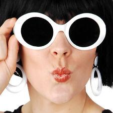 White ladies sunglasses glasses 60s gogo girl mod retro costume accessory