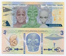 Earth Occupation Currency Novelty Polymer Note Three Terrestrial Credits
