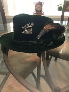Exquisite Dark green Velour Vintage Lembert Octobersfest Men's Hat Cord And Pins