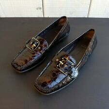 Stuart Weitzman Patent Alligator Print Loafer Flats Womens Shoes Size 9.5