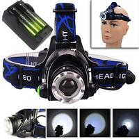 12000LM CREE T6 LED Zoom Headlamp Head Torch Headlight+18650 Batteries+Charger D