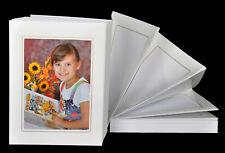 Leporello für 100 Fotos 13x18 - weiß mit Goldkante - alle Passepartouts eckig