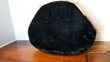 Vintage black velvet clasp purse with small metal chain handle