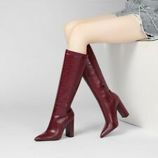 Womens Faux Leather Pointed Toe Knee High Knight Boots Side Zip Block Heels Shoe