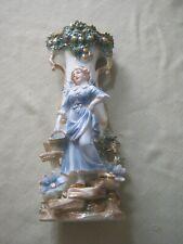 Vintage Ornate Lrg Porcelain Figural Vase Woman, European? English Cottage Chic