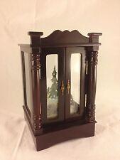 "Wallace Silversmiths 8 1/4"" wood glass show case rotating Christmas Music Box"