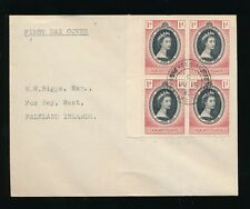FALKLAND ISLANDS 1953 CORONATION BLOCK...FOX BAY CANCEL