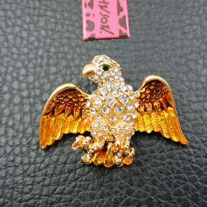 Betsey Johnson Gold Enamel Rhinestone Cute Eagle Charm Woman Brooch Pin Gift