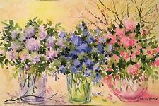 """6""""X9"""" Original Watercolor By Pamela Wilhelm Lavender blue pink glass bouquets"""