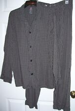Hanes Men Pajamas L Button Up Long Sleeve Cotton Blend Checked # 30