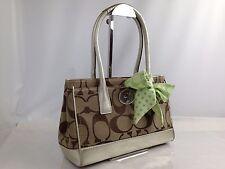 Auth coach signature handbag canvas beige Ladies ribbon cute 6f180240S
