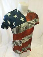 Mens TRUE ROCK AMERICAN FLAG V NECK T Shirt  S M L XL 2XL $100 Bills NWT 428