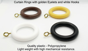 Plastic Curtain Rings (wood effect) Inner D 30mm / 36mm. Fits 22mm - 28mm pole.