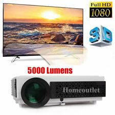 White FULL HD 1080p 5000 Lumens 3D LED Home Cinema Theater Projector HDMI USB UK